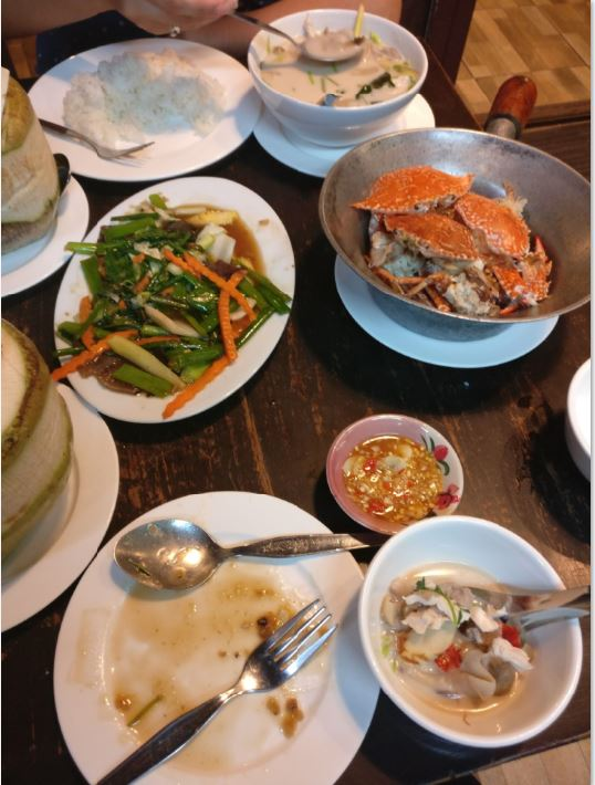 crab, fried vegetables, soup, and healthy food for self-care
