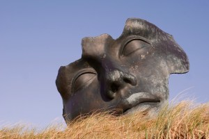 face sculpture, closed eyes on grassy plane
