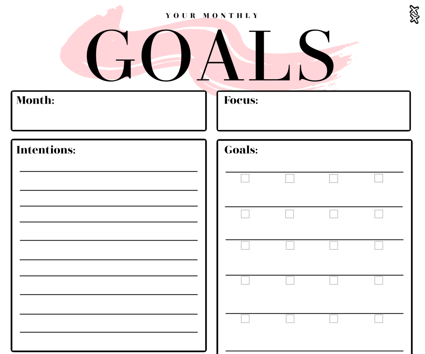 Monthly Goals Printable Mockup