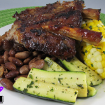 Ribs, beans, zucchini and corn (veggies have herb compound butter)