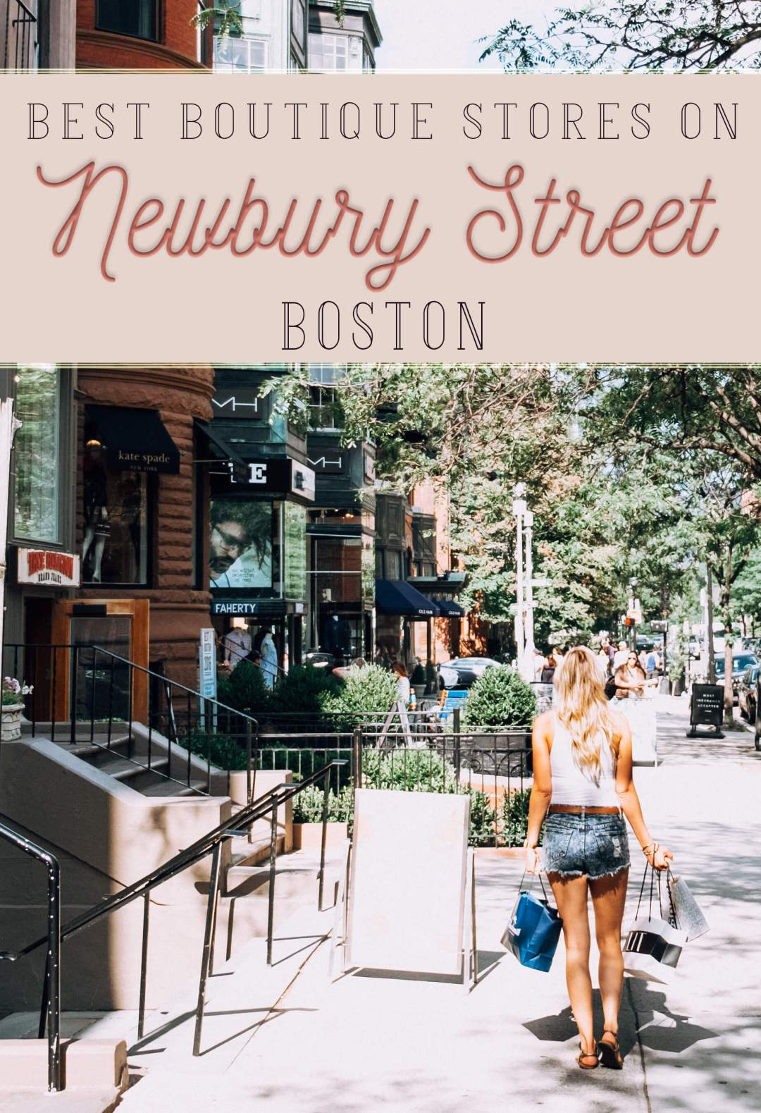 Woman shopping with text Best Boutique stores on Newbury Street Boston