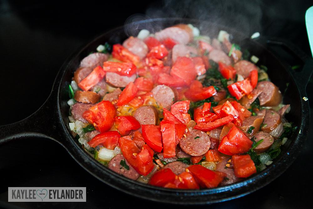 Tomato Spinach Sausage Fritata-6