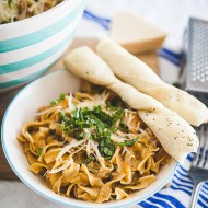 Instant Pot Buttery Garlic Chicken with Creamy Sun Dried Tomato & Mushroom Noodles Recipe