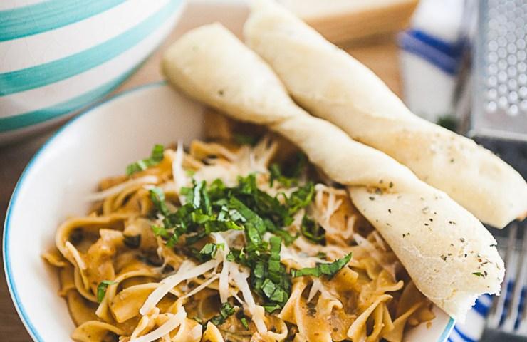 Instant Pot Buttery Garlic Chicken with Creamy Sun Dried Tomato & Mushroom Noodles Recipe