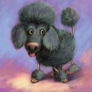 Cartoon Children's Illustration: Toy Poodle - Digital