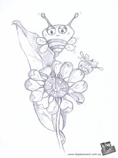 Drawing for the 52 week illustration challenge. Gift card Challenge #illo52weeks Bees and flower. Children's Illustration