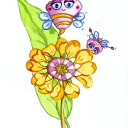 52 week illustration challenge. Gift card Challenge #illo52weeks Bees and flower. Children's Illustration