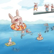 Bunnies swimming. SCBWI illustrator's portfolio. 52 week illustration challenge. Gift card Challenge