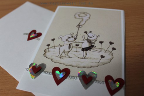 Cloud nine. Engagement, wedding or Valentine day card illustration. #illo52weeks theme clouds. Dogs in love.