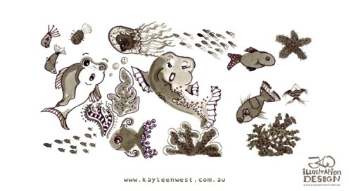 INKtober 2014. An inked sketch each day for the month of October. Today it is a inked sea creatures and coral for a surface design illustration. #inktober