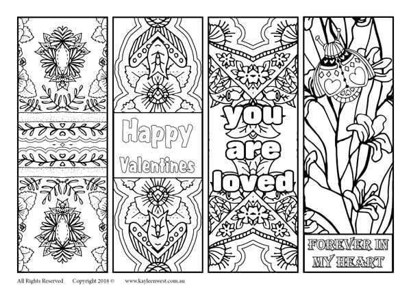 Free printable bookmarks Valentines Day and every day