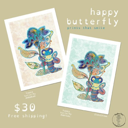 Happy poster print Happy Butterfly print. Illustration by Kayleen West