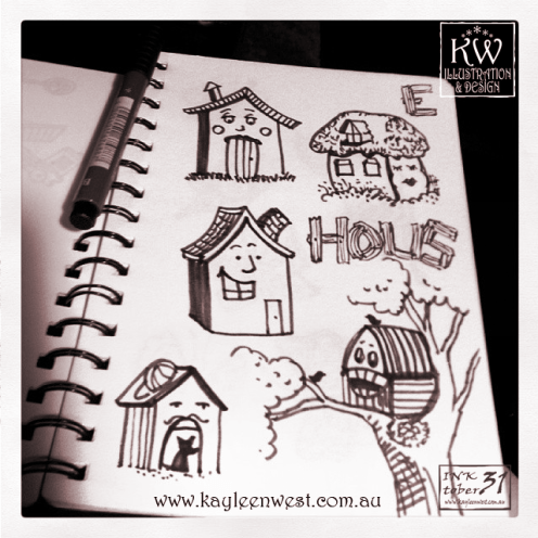 INKtober 2014. An inked sketch each day for the month of October. Today it is a inked Happy houses for a surface design illustration. #inktober