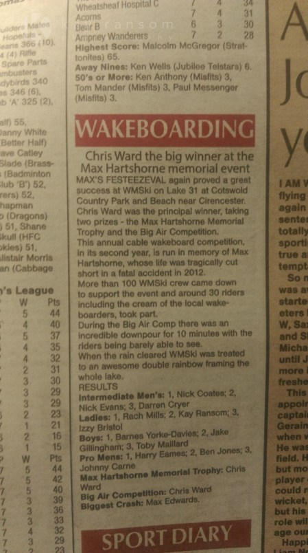 Competing in amateur wakeboarding in The Cotswolds