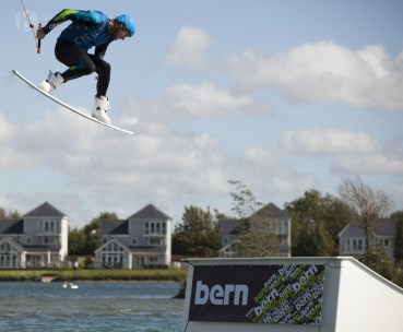 Wakeboarding tricks off a kicker