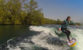 Kay wakesurfing for fun