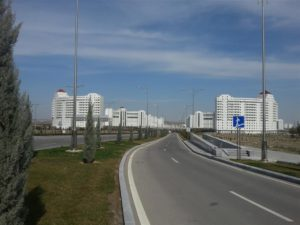 Empty streets in the new part of Ashgabat