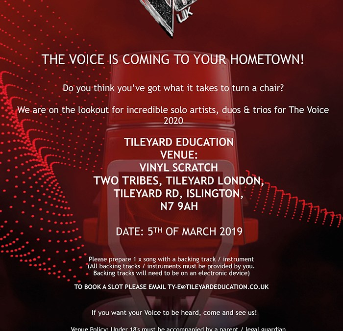 The Voice Is Coming to Vinyl Scratch 5th March at Tileyard Kings Cross
