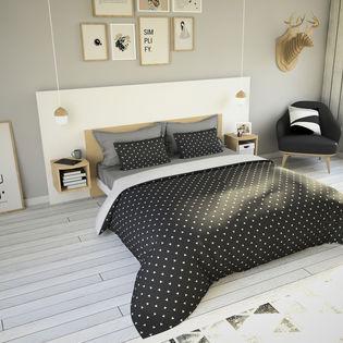 amsterdam tete de lit 6 ensemble tete de lit 180 cm 2 chevets blanc mat et chene blond