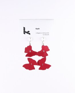 Collection Papillons de Kazh By Annie B. Boucles d'oreilles rose fuchsia