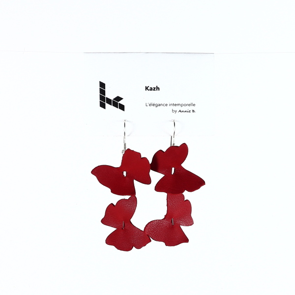 Collection Papillons de Kazh By Annie B. Boucles d'oreilles rouge coquelicot