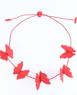 Collier Papillons rose fraise