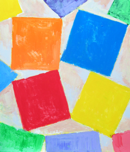 geometric square pattern, geometric symbolism, lyrical abstraction, abstract colorful acrylic painting #1788, 2004 | Kazuya Akimoto Art Museum