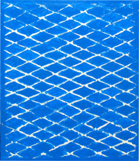 Blue Net : geometric, line pattern, minimalism, minimalist, repeated geometric diamond pattern, abstract blue acrylic painting #1981, 2004 | Kazuya Akimoto Art Museum