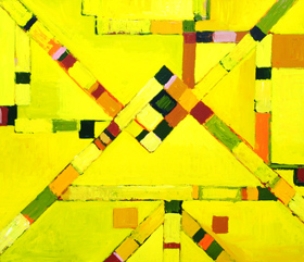 yellow, abstract ,subway, metro, tube, underground line map image, urban, city, downtown, straight lines, geometric, acrylic painting #2025, 2004 | Kazuya Akimoto Art Museum