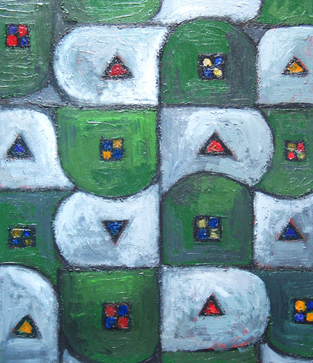abstract geometric pattern, abstract landscape, abstract suburban image, abstract map pattern image acrylic painting#2167, 2004 | Kazuya Akimoto Art Museum