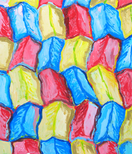 colorful abstract landscape pattern, trichromatic, three primary color pattern, repetition, geographical, abstract, paysage abstrait, acrylic painting#2196, 2004 | Kazuya Akimoto Art Museum