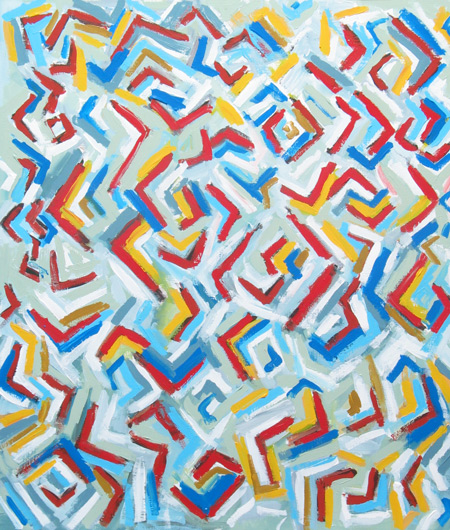 abstract colorful element pattern ,geometric pattern, line pattern,  conceptual pattern, pattern of abstract elements, allover, acrylic painting #2207, 2004 | Kazuya Akimoto Art Museum
