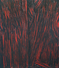 Dark Red Bark : abstract natural texture pattern ,natural linear pattern,  botanical abstraction, tree bark pattern, abstract tree surface layer, bark texture painting, abstract natural scene, natural symbolism, acrylic painting # 2227, 2004 | Kazuya Akimoto Art Museum