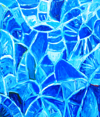 Abstract botanical leaf pattern, abstract natural pattern, allover pattern symbolism painting, blue monochrome, abstract blue art, blue color symbolism painting, abstract blue leaf texture, leaf vein pattern, abstract expressionism, abstract leaf, lyrical blue abstraction, acrylic paining #2327, 2004 | Kazuya Akimoto Art Museum