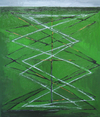 The Green Earthquake : abstract earthquake, seismic wave pattern painting, geological theme, abstract underground, abstract straight line pattern, green painting, abstract raw art, acrylic painting #2360, 2004 | Kazuya Akimoto Art Museum