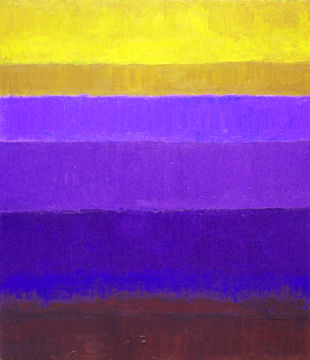 abstract purple gradation color fields geometric painting, complementary color gradation pattern, abstract sea, rectangular, geometric, abstract landscape, abstract nature pattern, colorful minimalism, horizontal pattern, acrylic painting #2436, 2004 | Kazuya Akimoto Art Museum
