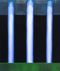 Abstract Three Columns of The Ancient Temple : abstract architectural symbolism, abstract architecture, mythological symbolism, archaeological theme, vertical pattern, light symbolism, ancient, architectural symbolism, number 3 symbolism, Greek, Roman theme, religious symbolism, acrylic painting #2491, 2004 | Kazuya Akimoto Art Museum