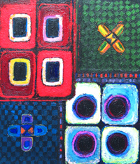 Geometric Eight Black Holes : colorful geometric ornamental pattern acrylic painting, abstract colorful texture, texture pattern, rectangular, circular patterns, astronomical theme, colorful pattern, pattern symbolism, geometric expressionism, geometric raw art, primitive pattern, awkward naive art, naive abstraction, colorful art pattern painting, acrylic painting #2545, 2004 | Kazuya Akimoto Art Museum