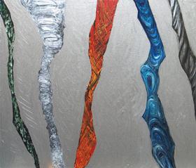 Tornadoes : abstract meteorological, silver acrylic painting 2005