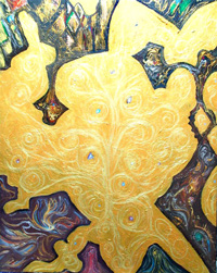 Archipelagoes : abstract geographical, Japonism, gold acrylic painting 2005