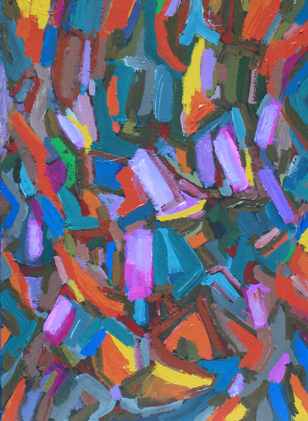fragmentary coloful abstraction, abstract expressionism, lyrical abstract,  allover, purple acrylic painting #4283, 2005 | Kazuya Akimoto Art Museum
