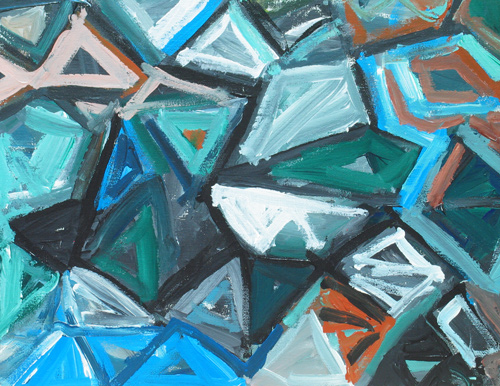 abstract, geoetric expressionism, fragmental,  rough brush stroke, geometric, abstrct pattern, abstract, brush strokes, debris, geometric triangular pattern,  acrylic painting #4297, 2005 | Kazuya Akimoto Art Museum