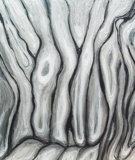 silver metallic color, liquid, flow pattern, abstract bark surface pattern, botanical, pattern symbolism, abstract tree painting#4338, 2005 | Kazuya Akimoto Art Museum