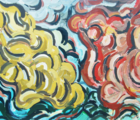abstract weather theme, abstract cloud pattern, meteorological theme, thick line patterns, acrylic painting #4349, 2005 | Kazuya Akimoto Art Museum
