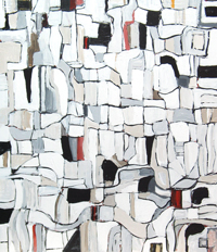 Abstract Irregular City Blocks and Streets : Abstract map, abstract cityscape, abstract streetscape, black and white irregular soft line pattern, abstract urban block pattern, abstract cell pattern, abstract urban route pattern, acrylic painting #4408, 2005 | Kazuya Akimoto Art Museum