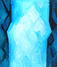 Abstract Snow Man in the icicle : abstract cubism, abstract light symbolism, blue color symbolism painting, suggestive abstract human figure, acrylic painting #4459, 2009 | Kazuya Akimoto Art Museum