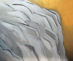 Japanese Medieval Style Sliver Metallic Rock : New Japonism, Japanese traditional style painting, abstract line cubism, metallic cubism, silver rock, gold background, abstract natural elements, abstract natural scene, abstract landscape, Japanese medieval art style, Kano school, acrylic painting #4480, 2005 | Kazuya Akimoto Art Museum