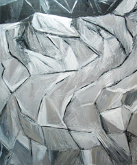 Abstract Silver Metallic Cubist Snow Slope : abstract metallic cubism, cubism abstract landscape, abstract winter slope, abstract snow slope pattern, cubism landscape, metallic silver line pattern, acrylic painting #4492, 2005 | Kazuya Akimoto Art Museum