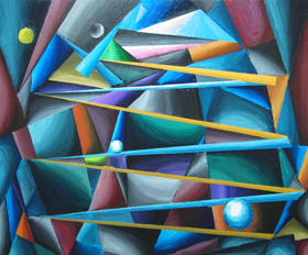 Treacherous Moons (The Moonlit Colorful Long Way of a Cubist): colorful pop cubism painting, synthetic cubism, abstract natural scene, abstract streetscape, abstract allegorical, narrative cubism, acrylic painting #4534, 2005 | Kazuya Akimoto Art Museum