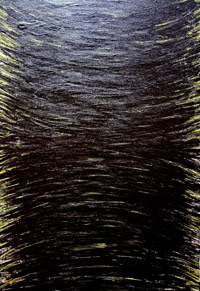 The Black Creation : abstract minimal expressionism, black minimalism, abstract linear pattern, line movement, fine brush stroke pattern, abstract symbolism, abstract biblical theme acrylic painting #5322, 2006 | Kazuya Akimoto Art Museum